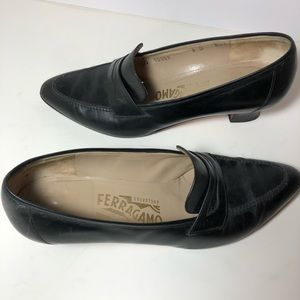 Ferragamo penny loafer heels slides black 8